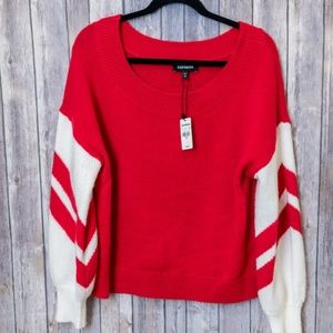 NWT Express Red White Scoop Neck Holiday Sweater M